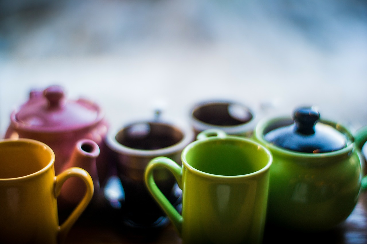 A rainbow of tea cups