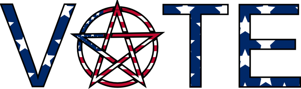 "The word ""VOTE"", with a pentagram and stars and stripes pattern."